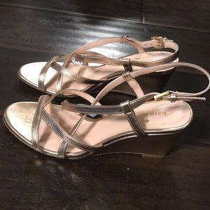 Kate Spade Metallic Wedge Sandals sz 8.5